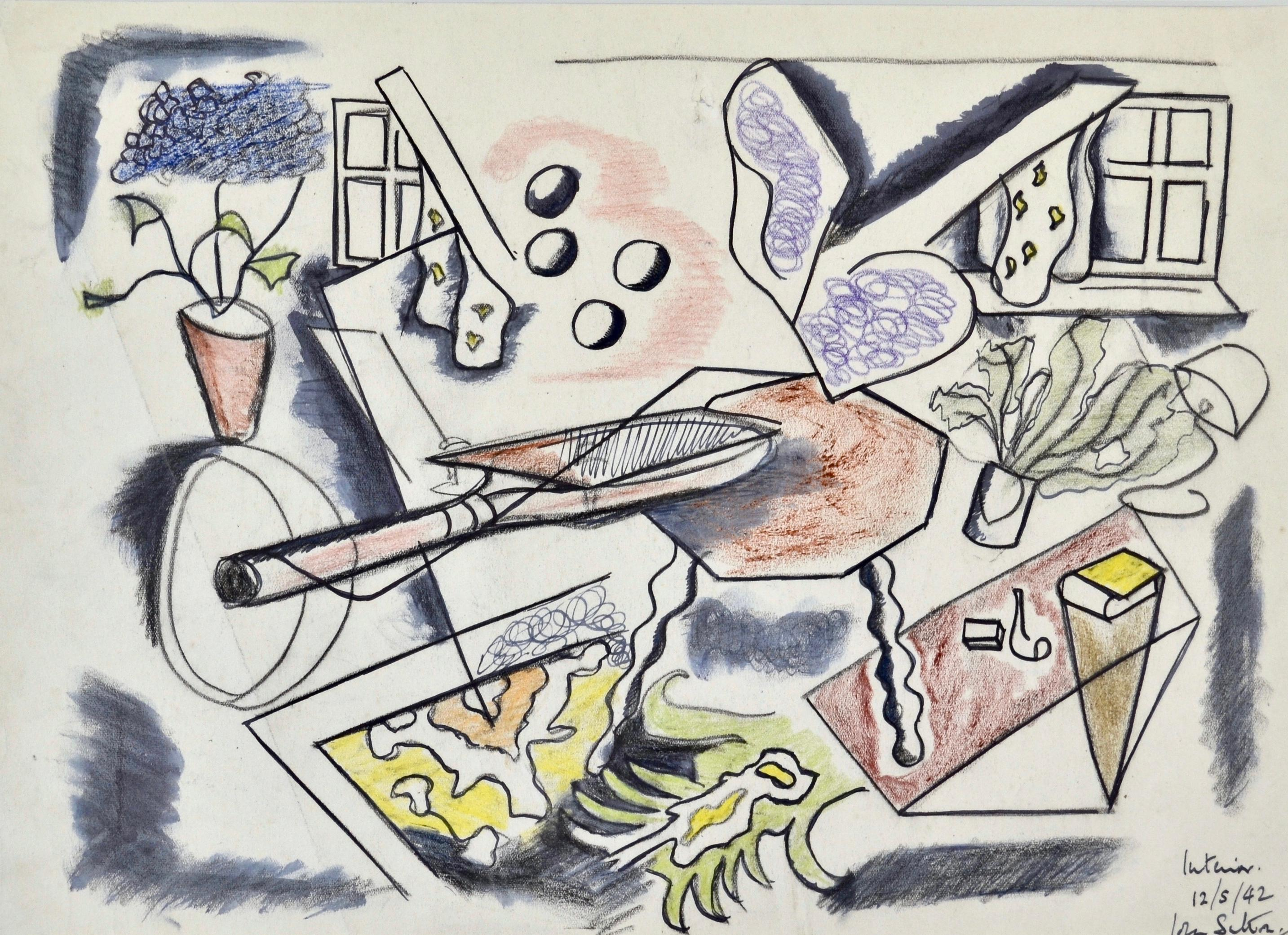 Interior - 1940s Cubist chalk drawing of an interior still life by John Sutton