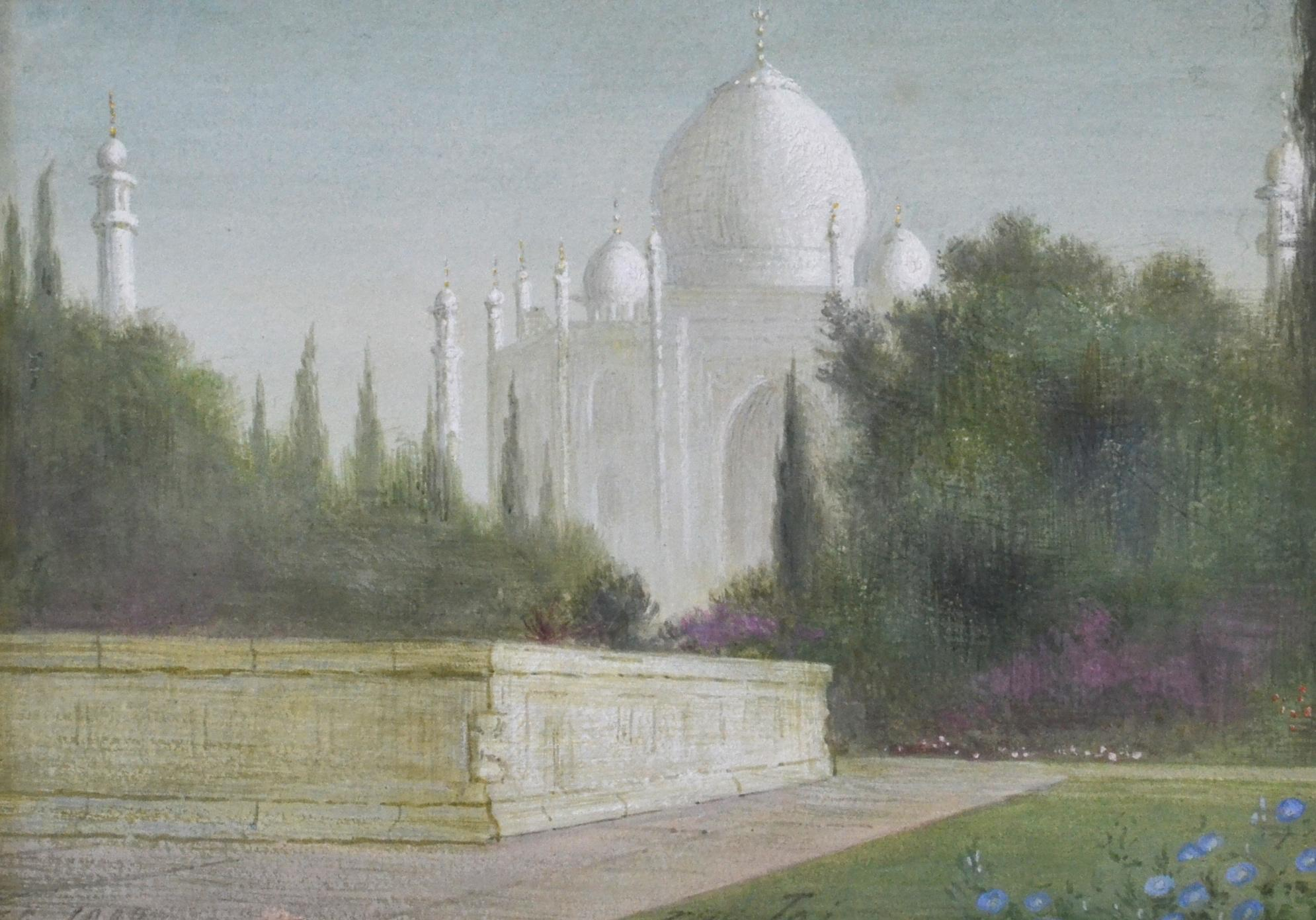 The Taj - Pre-Raphaelite landscape gouache by Edward Clifford