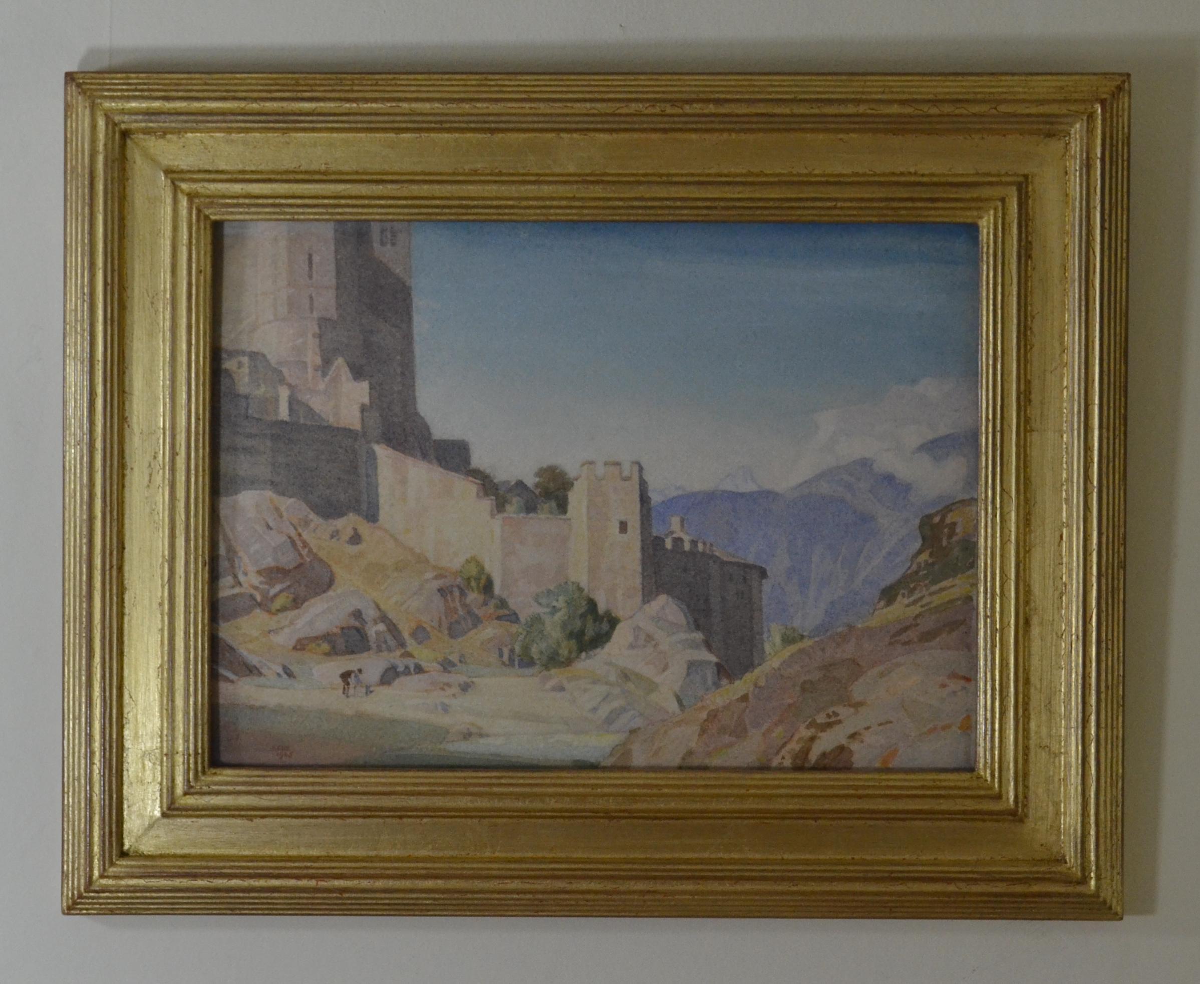 The Castle at Sion - Swiss landscape by British Birmingham Group artist C M Gere