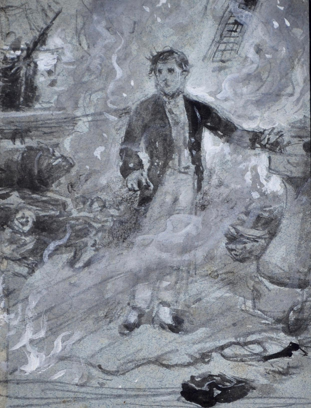 Casabianca - Grisaille watercolour by Victorian genre painter G G Kilburne