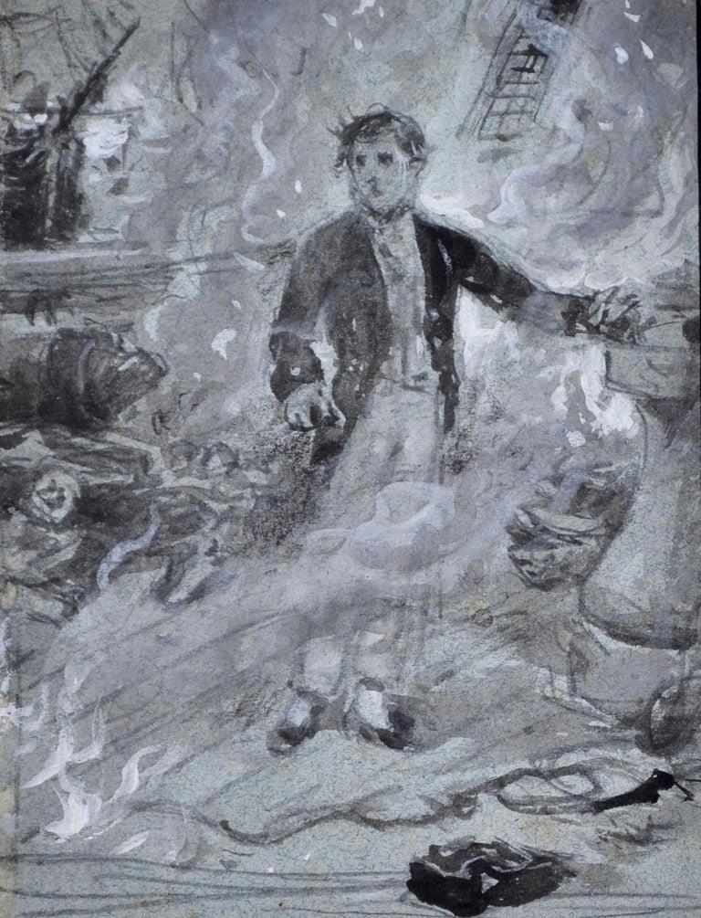 George Goodwin Kilburne Figurative Art - Casabianca - Grisaille watercolour by Victorian genre painter G G Kilburne