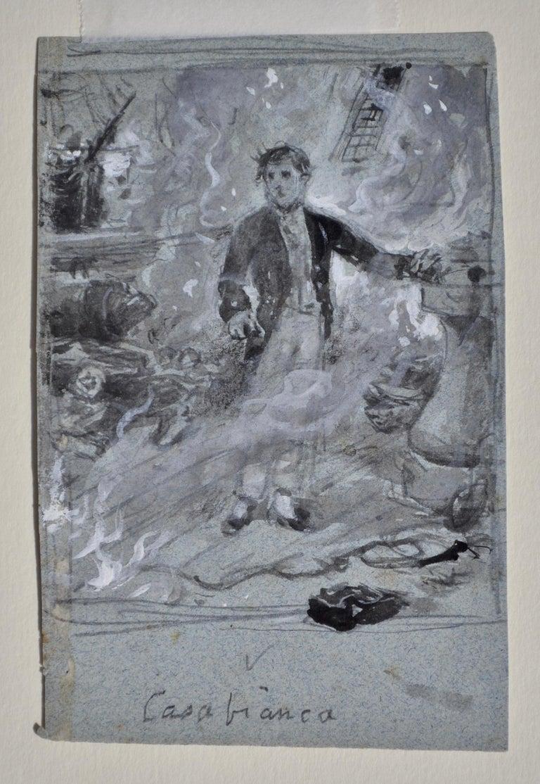 Casabianca - Grisaille watercolour by Victorian genre painter G G Kilburne - Art by George Goodwin Kilburne
