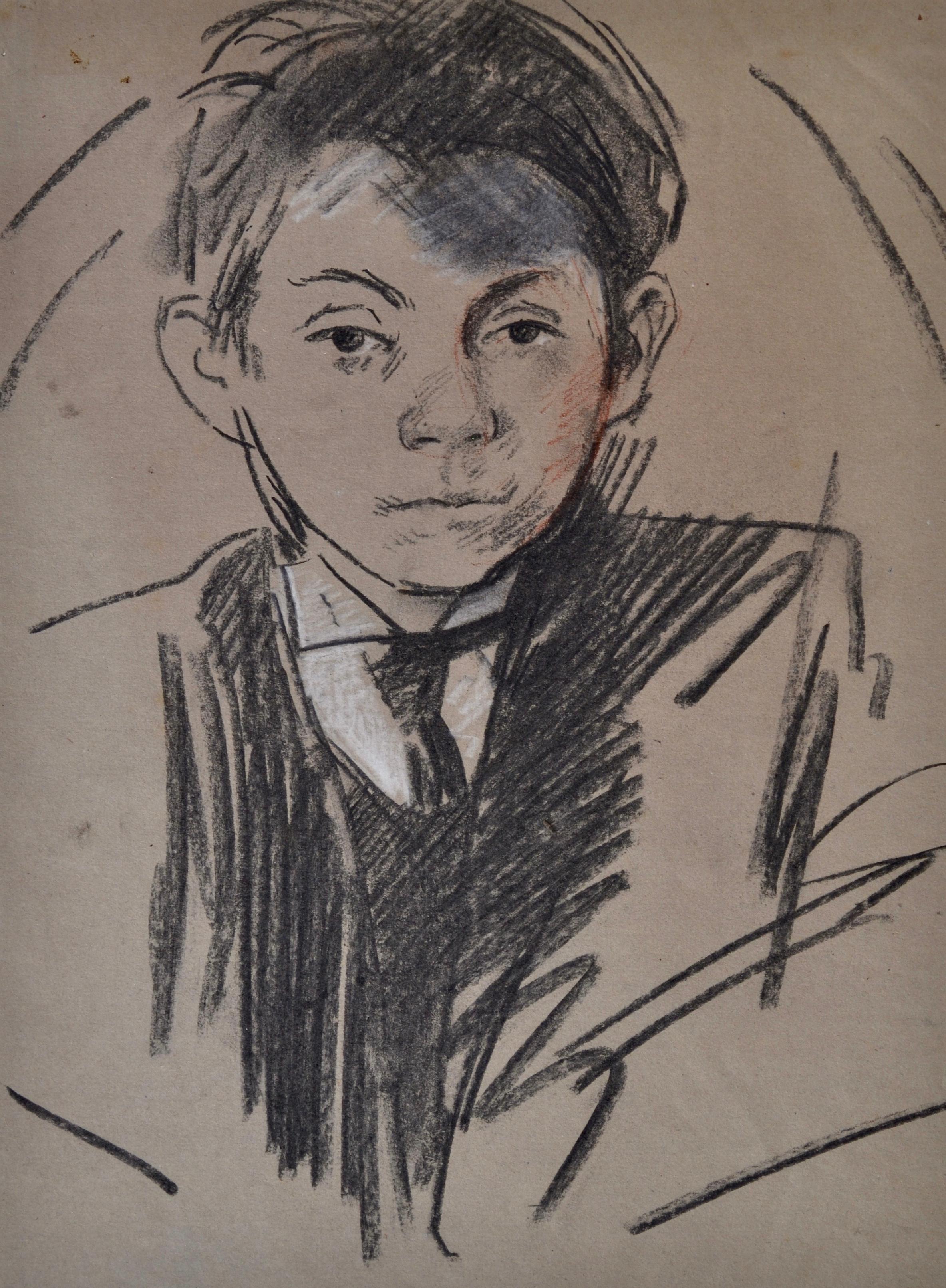 Study of a Boy - Modern British portrait drawing of a boy by John Sergeant
