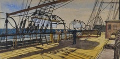 1870s British Marine School watercolour - On Board Steam Packet to Demerara