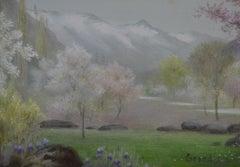 Kashmir Blossoming - 1880s Pre-Raphaelite/Aesthetic landscape by Edward Clifford