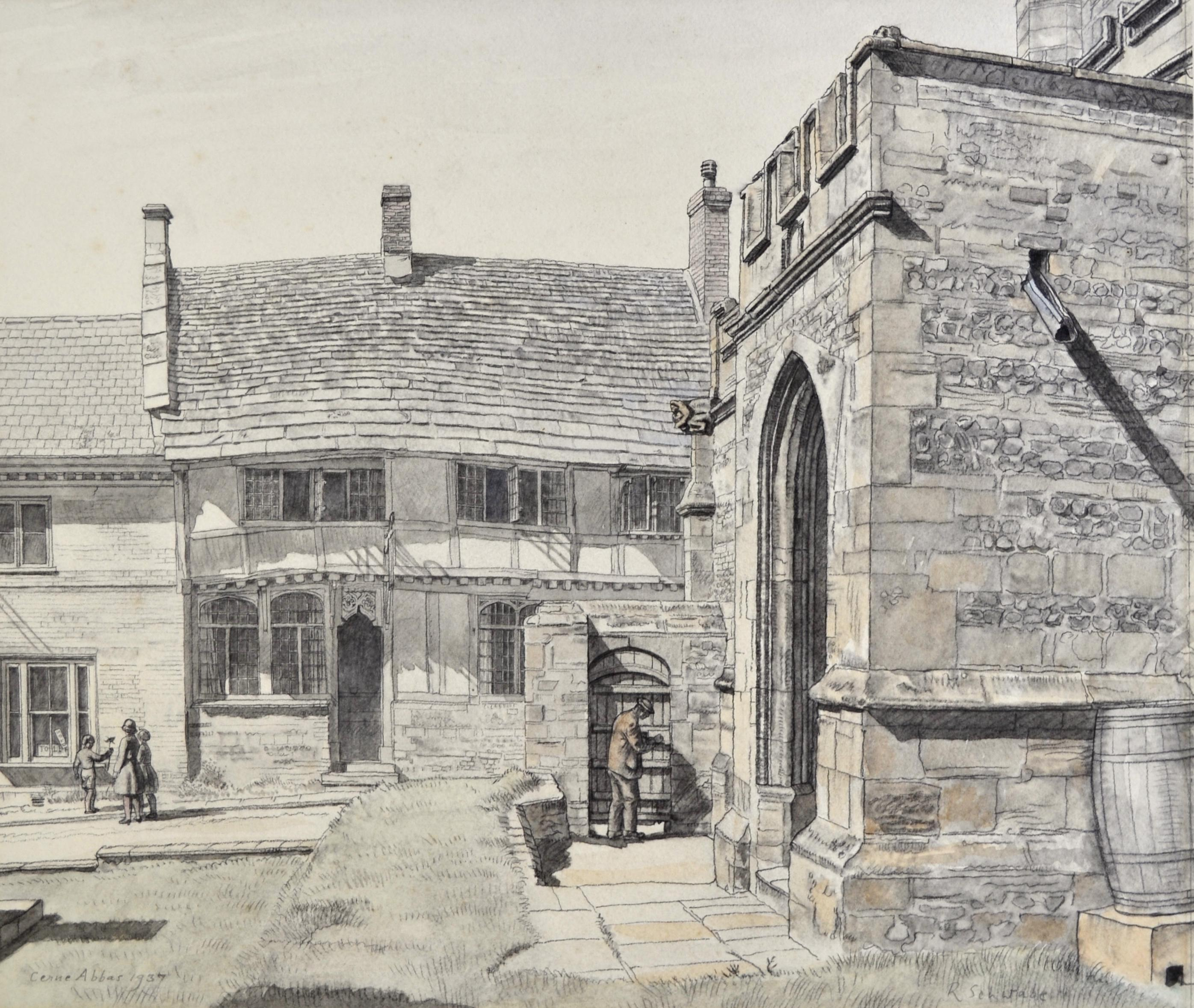 The Pitchmarket, Cerne Abbas - 1930s British watercolour drawing by Schwabe