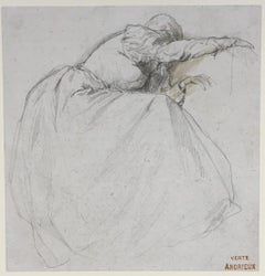 Grief - 19th Century Belgian/French drawing by Clement Auguste Andrieux