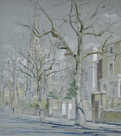 St Mark's, Hamilton Terrace - 20th Century London Street Scene by Halliday