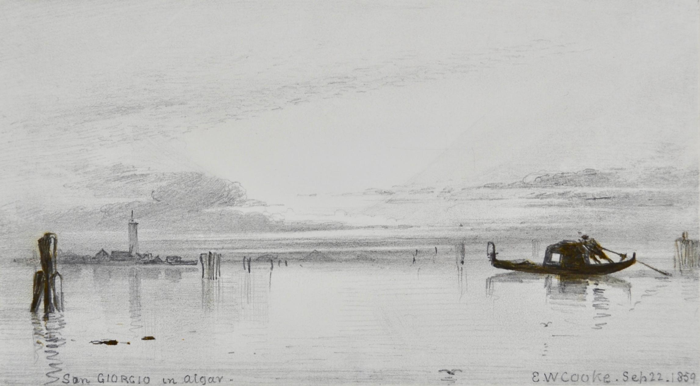 San Giorgio in Alga - Drawing of Venice by Victorian British artist E W Cooke