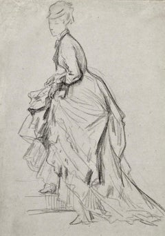 Showing an Ankle - 19th Century French drawing of a Fashionable Lady