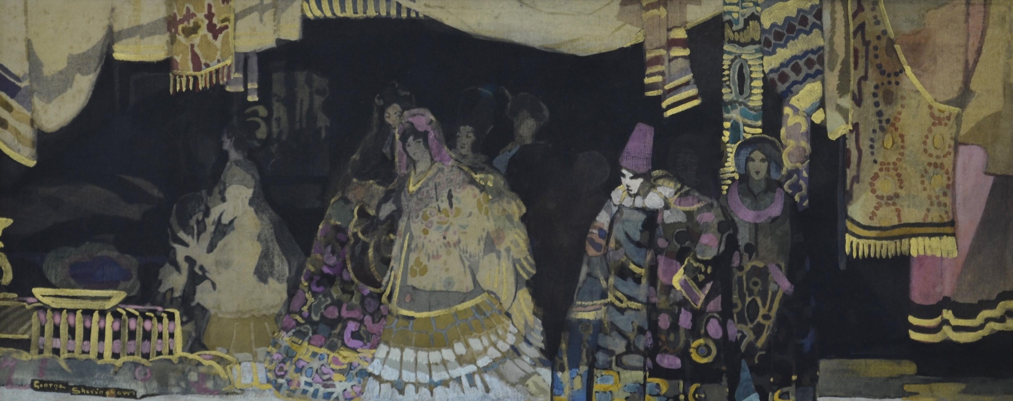 Visit to the Bazaar - 1916 British watercolour on silk by Sheringham