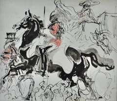 Household Cavalry at the Coronation - 1950s drawing by Feliks Topolski