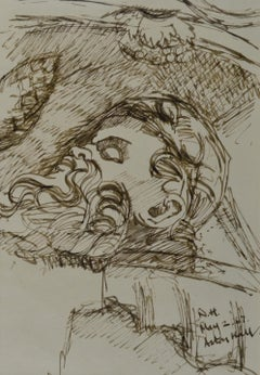 Study for a Fallen Statue, Aston Hall, 20th Century British drawing by Hickman