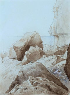 Rocky Shore - Pre-Raphaelite drawing by 19th Cent British artist Henry Holiday