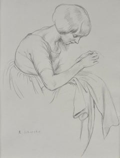 Birdie Sewing - 20th Century British drawing of the artist's wife by Schwabe