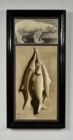 Polar Bear and Fish - Early 20th Century British Grisaille watercolour