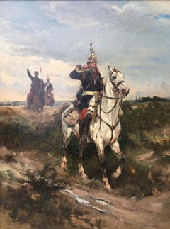 The French Dragoon - 19th Century Military oil by Anglo/French J A Walker