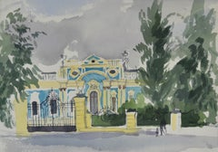 Blue Baroque Building - 20th Century British watercolour by Barbara Dorf