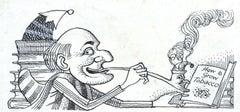 Mr Punch - How to Grow Tobacco - Original ink 20th Century British illustration
