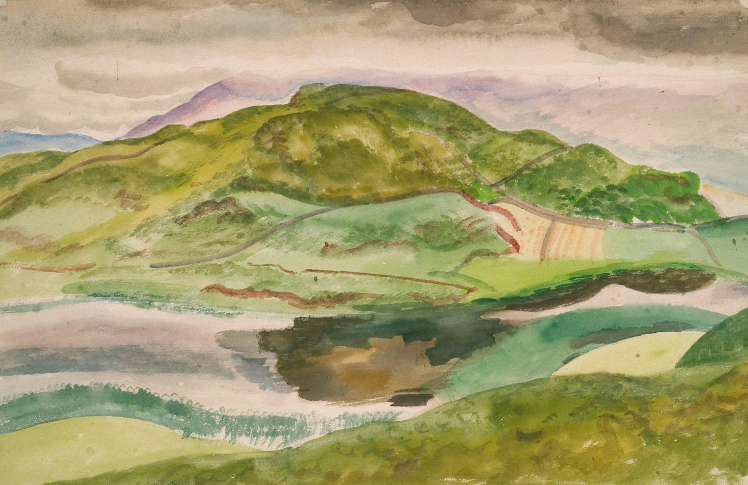 An Irish Lough - Modern British watercolour Landscape by Reginald Brill