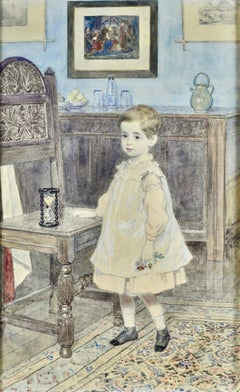 Portrait of a Child - 19th Century British watercolour of a child in an interior
