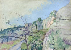 A Rocky Gorge, South of France - Modern British watercolour by Rutherston