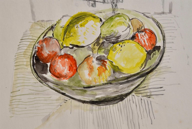 JOHN SERGEANT (1937-2010)  Still Life of Fruit in a Bowl  Watercolour, unframed  16.5 by 24 cm., 6 ½ by 9 ½ in. (mount size 33 by 39 cm., 13 by 15 ¼ in.)  Sergeant was born in London, the son of a civil servant.  His family soon moved to Faversham