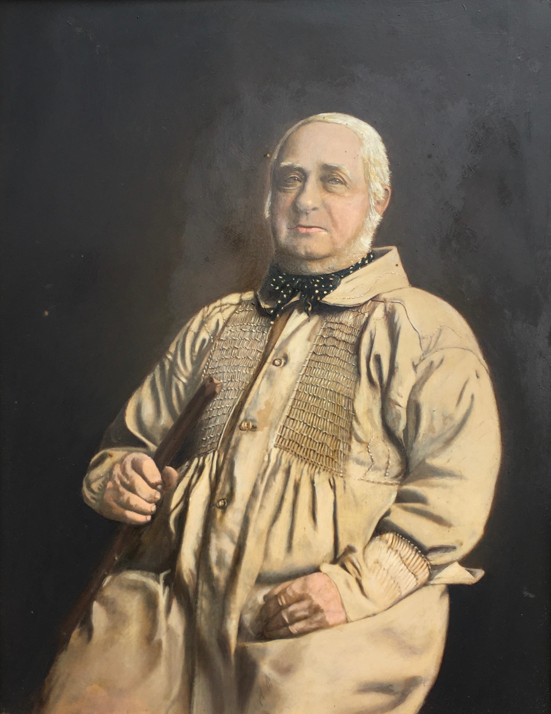 The Farmer - 19th century Portrait oil over a photographic base