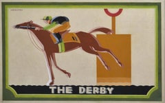 The Derby - 1930s Horse Racing Poster Design by British artist Sutton