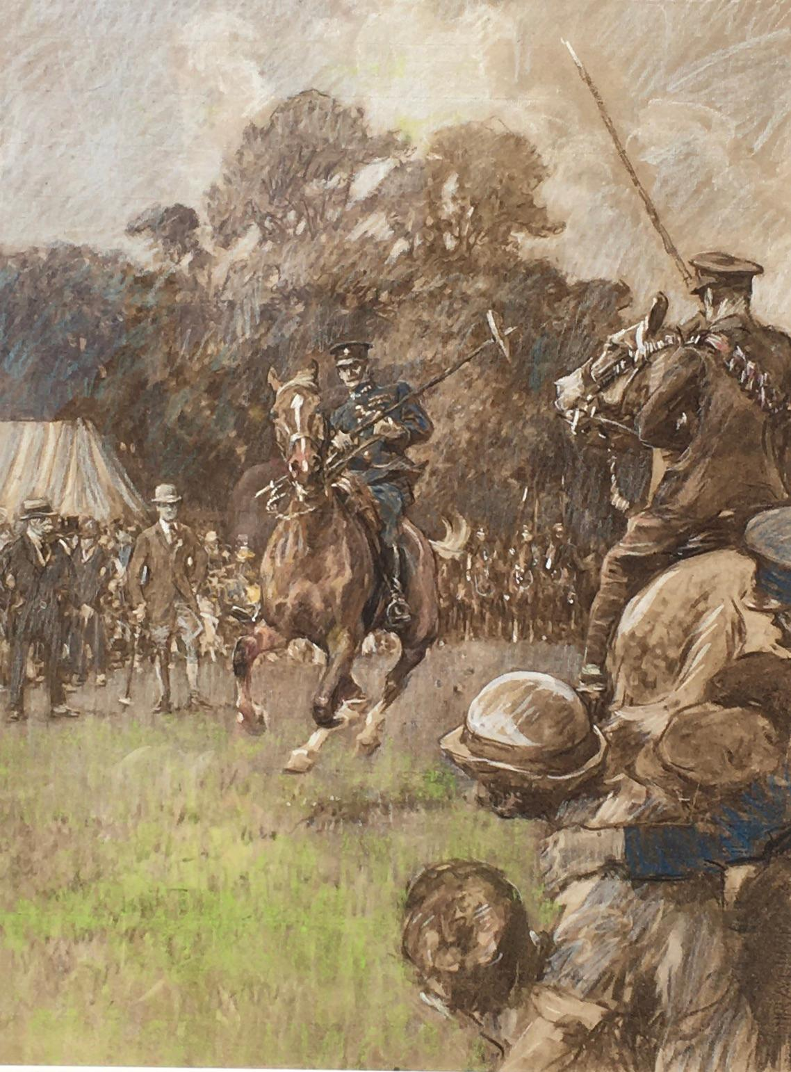 Tent-Pegging - Early 20th Century British Sporting Drawing by Gilbert Holiday