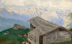 The Alps - View from Montana looking North - British 20th Century Watercolour