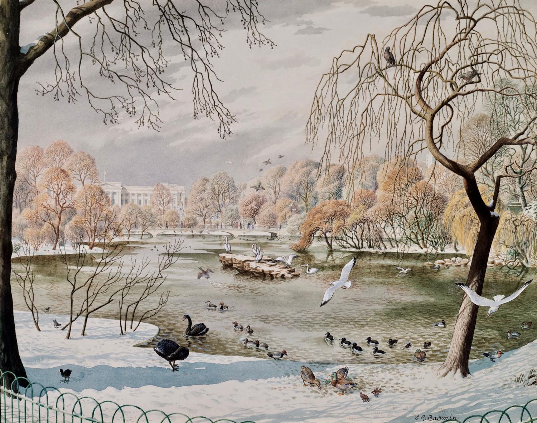 St James' Park, London - 20th Century British watercolour by Stanley Badmin
