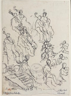 Orchestra Rehearsal - 1950s Modern British drawing by Lord Methuen