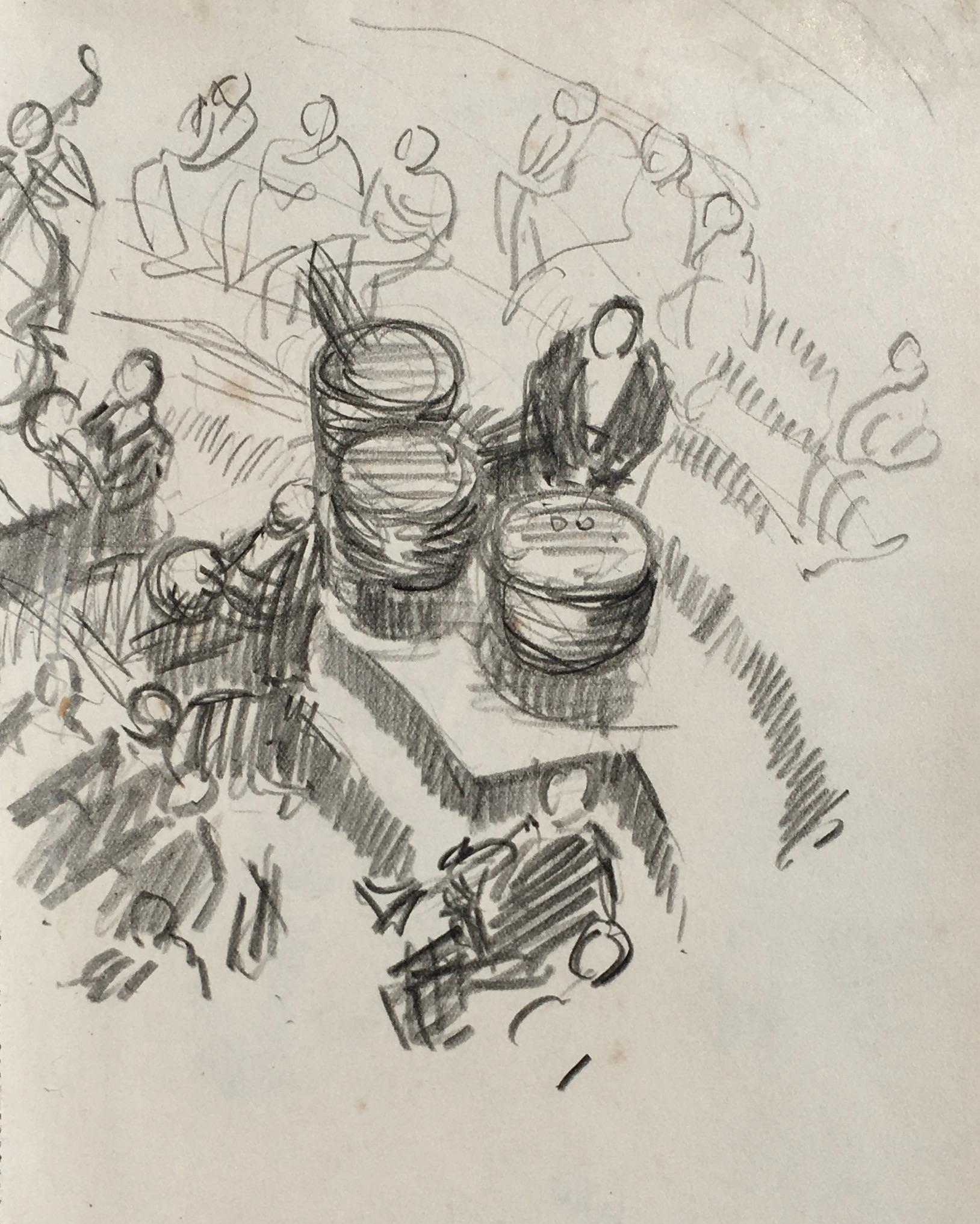 Timpani, London Symphony Orchestra - British drawing by Lord Methuen