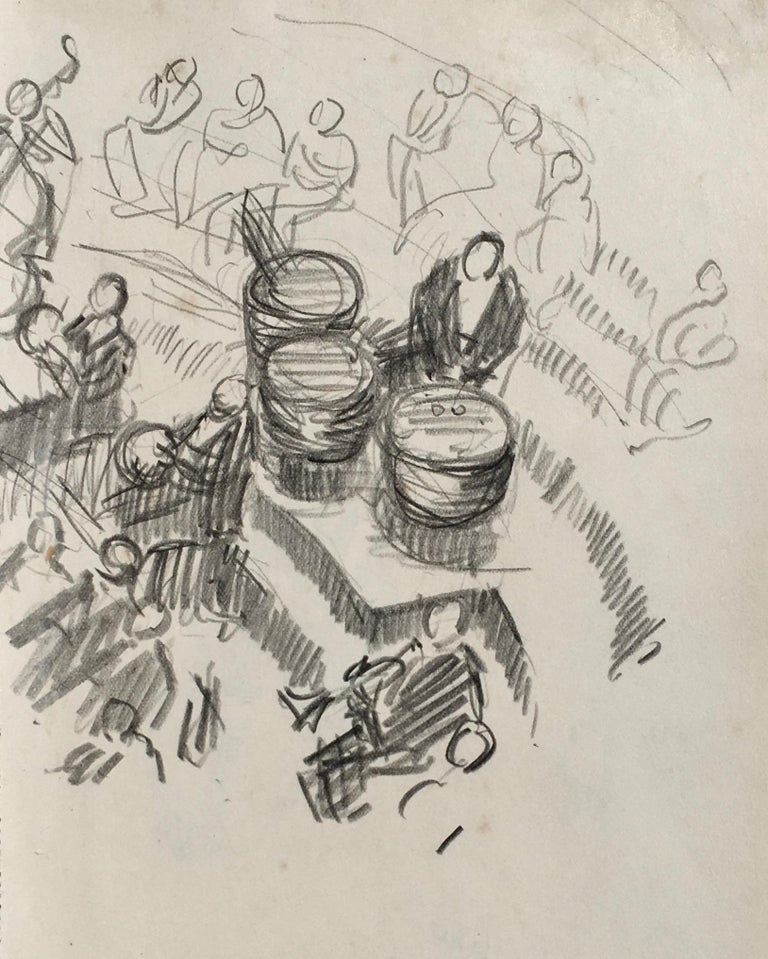 Lord Paul Ayshford Methuen Figurative Art - Timpani, London Symphony Orchestra - British drawing by Lord Methuen