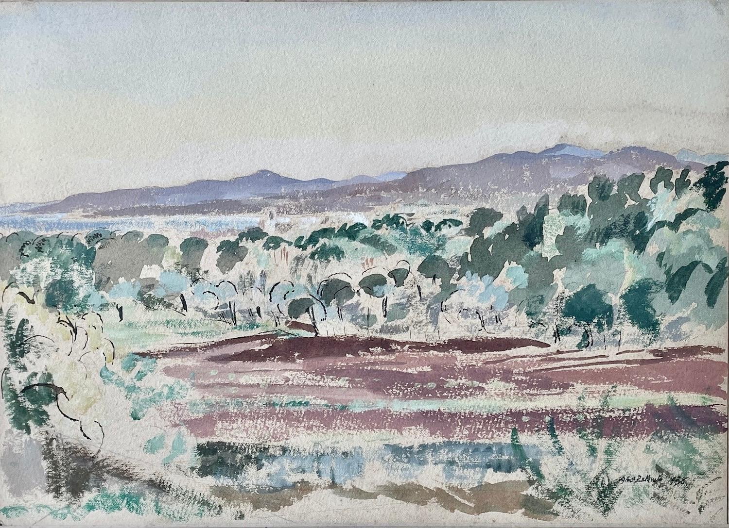 At Valescure - 1930s British Impressionist watercolour by Albert Rutherston