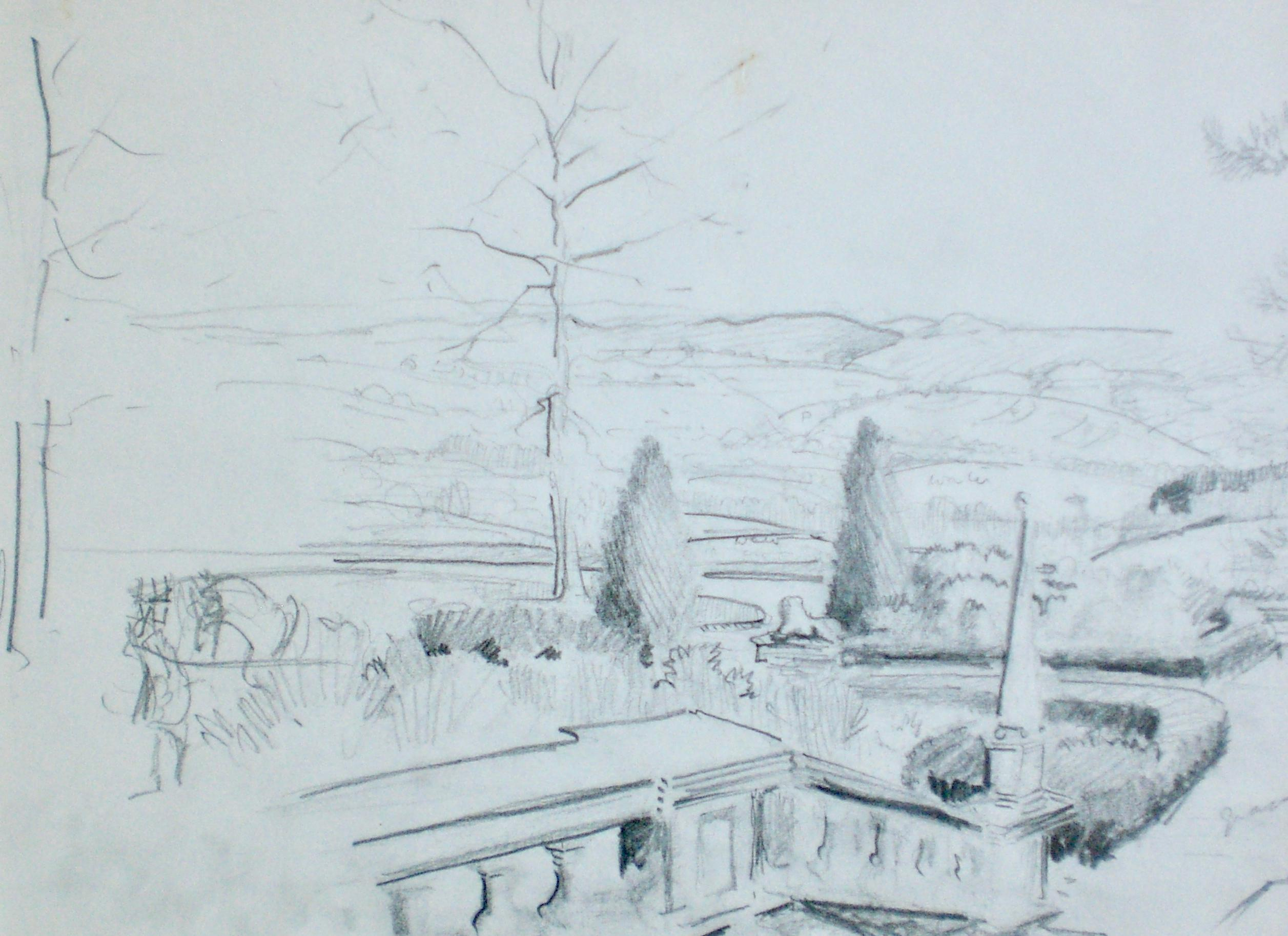 From the Terrace, Wethersfield, NY - 20th centuryBritish drawing by Michael Lyne
