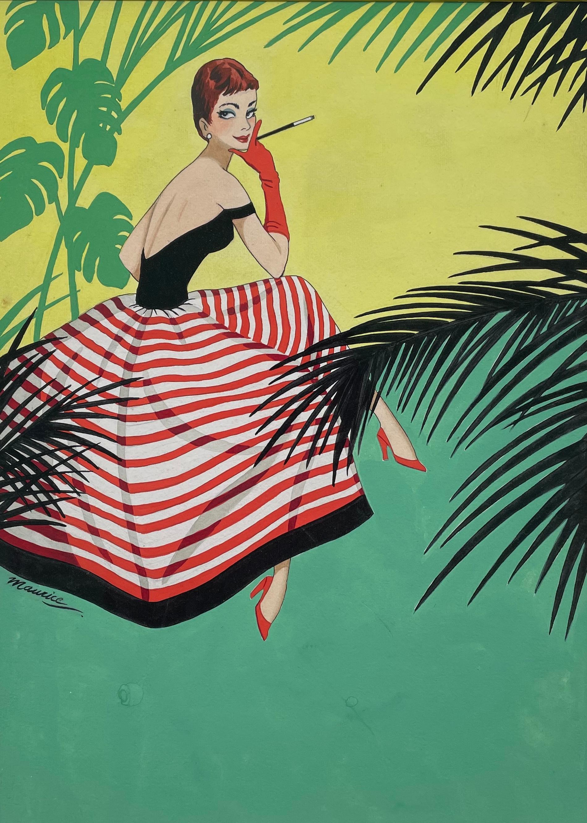 Girl in a Striped Skirt - 1950s British commercial art, gouache