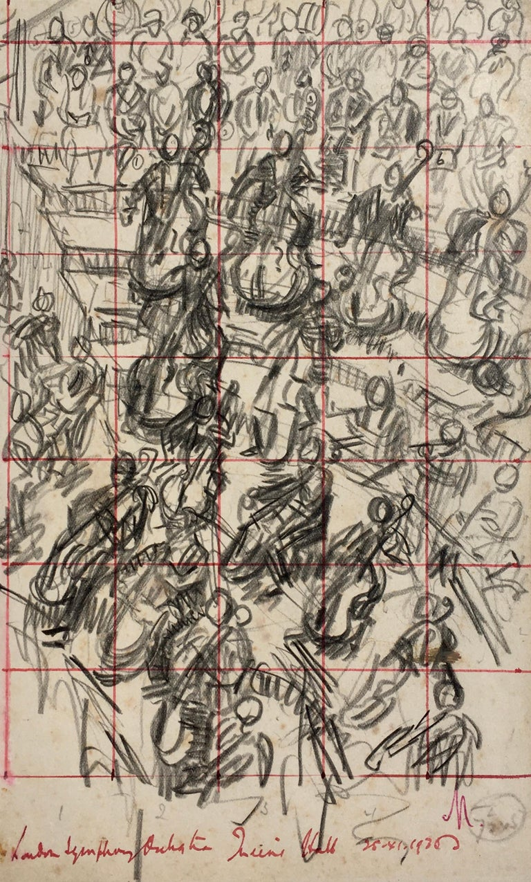 Lord Paul Ayshford Methuen Interior Art - London Symphony Orchestra - 1936 drawing by Lord Methuen