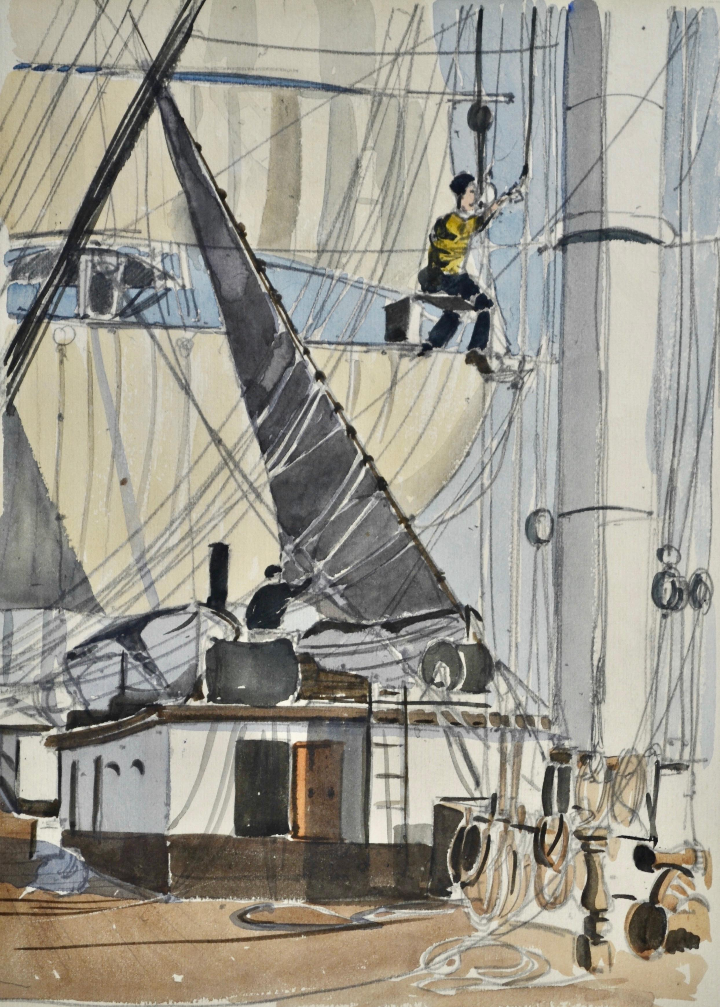 On Board Favell - 20th Century British Marine Watercolour by Claude Muncaster
