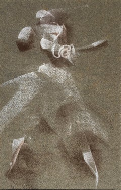 Dancer - 20th Century British/Indian abstract drawing by Mary Krishna