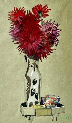 Still Life with Picasso Owl Vase Watercolour by British Designer Cecil Beaton