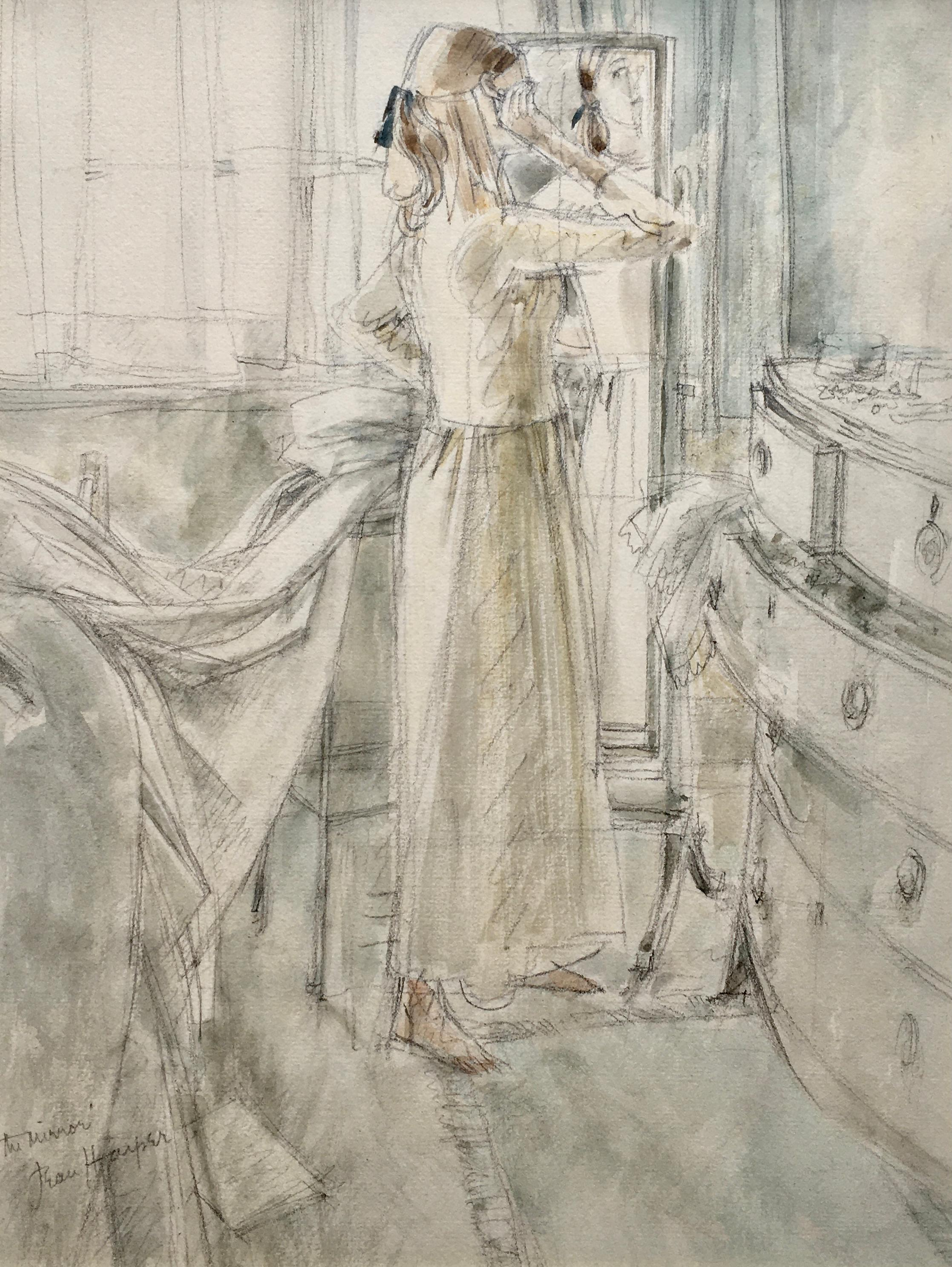 The Mirror - 20th Century British watercolour drawing by Jean Harper