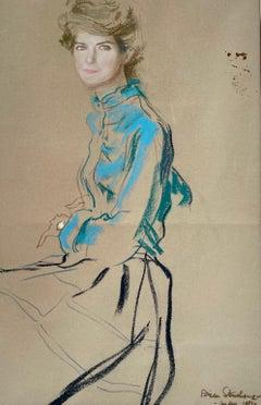 The Blue Shirt - Original 1980s British fashion drawing by Brian Stonehouse