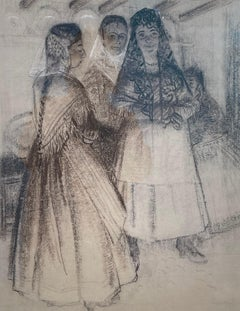 Going to Mass, Spain - 20th Century British drawing by Robert Sargent Austin