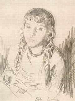 Baba (Melisande), the artist's daughter, 20th Century British Portrait Drawing