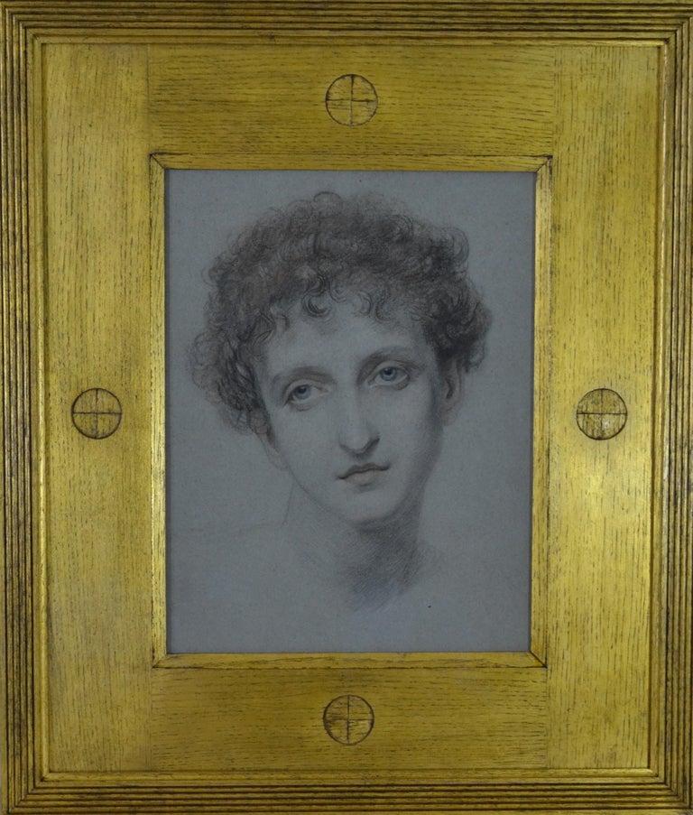 Ellen, A Greek Model - PreRaphaelite chalk portrait drawing - Art by Frederic James Shields, ARWS