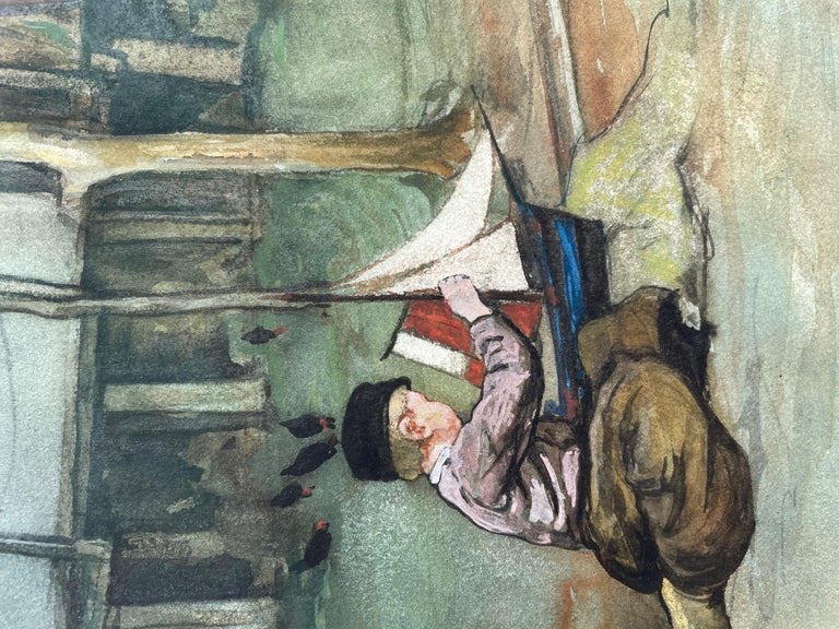 The Toy Boat - Anglo Dutch early 20th century Watercolour by Nico Jungman For Sale 1