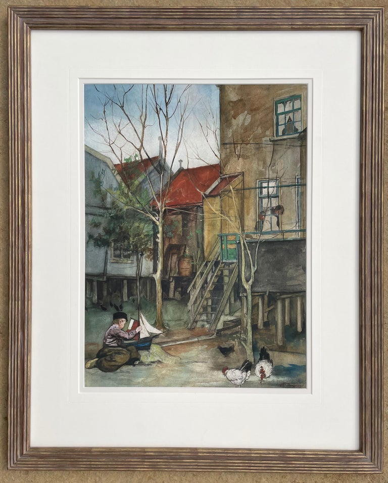 The Toy Boat - Anglo Dutch early 20th century Watercolour by Nico Jungman For Sale 2