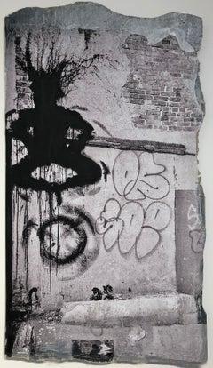 """Hoop Jump: Photograph of Richard Hambleton's Shadowman"""